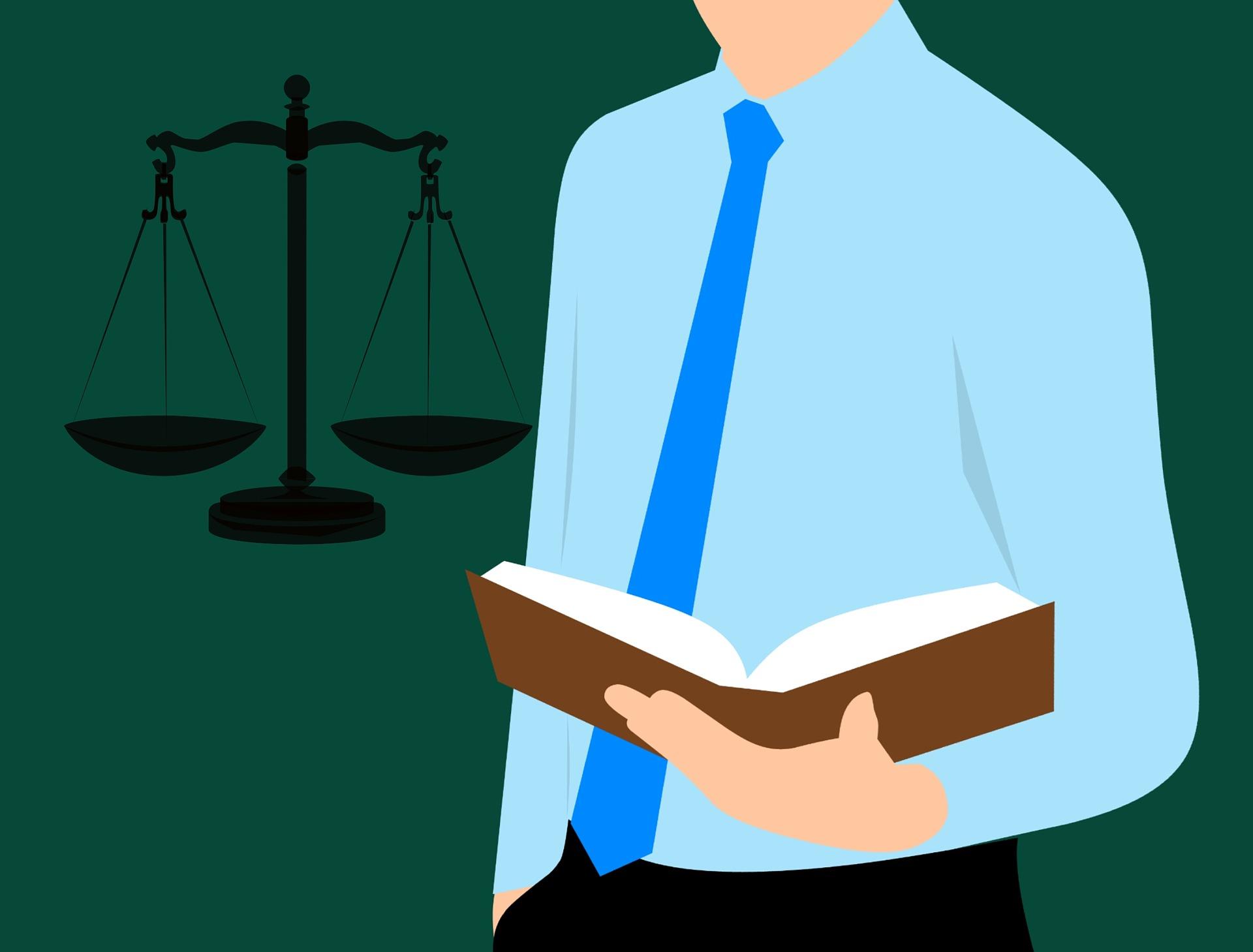Piirretty kuva lakikirjasta ja lakimiehestä.