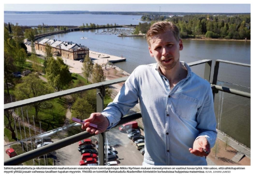 Kuva Mikko Nyrhisestä Pohjalaisen haastattelussa.