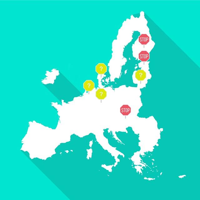 Kuva Euroopan kartasta maista, joissa makuaineet on kielletty ja maista, joissa makuainekieltoa harkitaan.